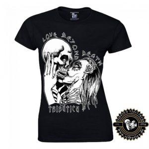 Qualitativ hochwertiges und bequemes figurbetontes Gothic Girlie Shirt Hält die Passform auch nach sehr häufigem Wäschen. Grammatur: 155 g/m² Farbe Schwarz Size XS-XL Rundhalsausschnitt ringgesponnene Baumwolle